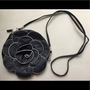 Black with Ivory Trim Rosette Purse
